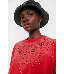 embossed short sleeve t-shirt - red - l
