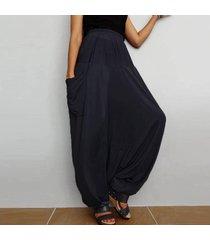 zanzea 2018 primavera mujer cintura alta bolsillos holgados con entrepierna pantalones de linterna pantalones anchos de gran tamaño harem pantalones largos retro mujer negro -negro