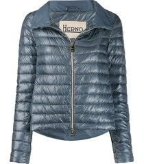 herno pleated back puffer jacket - blue