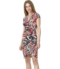 vestido estampado cruzado rojo bous