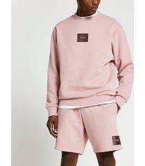 river island mens pink tokyo print sweatshirt and shorts set