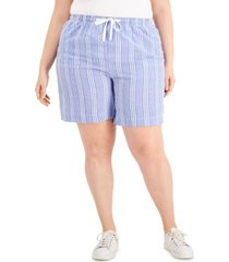 karen scott plus size striped pull-on seersucker shorts, created for macy's
