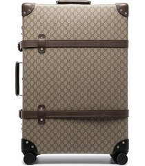 gucci globe-trotter gg canvas suitcase - brown
