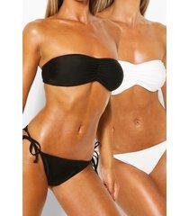 2-pack bikinibroekje met strikjes opzij, zwart