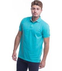 camiseta polo hamer, basica con bordado, para hombre color verde menta
