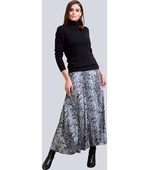kjol alba moda svart::vit::grå