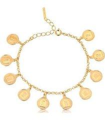 pulseira lys lazuli 10 mandamentos semijoia banhada ouro feminino - feminino
