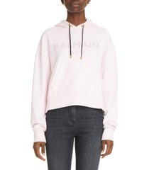 balmain logo hoodie, size small in pale pink at nordstrom