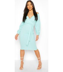 off the shoulder wrap midi bodycon dress, aqua