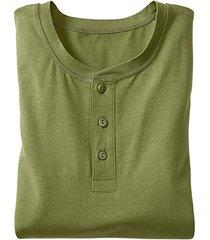 shirt met knoopsluiting en lange mouw, varengroen s