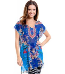 blusa 101 resort wear tunica decote v crepe fendas azul