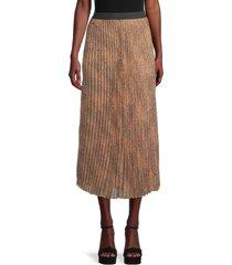 wdny women's sunburst printed maxi skirt - brown animal - size l