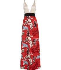 floral embroidered hybrid gown