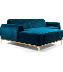 sofã¡ 3 lugares com chaise base de madeira euro 245 cm veludo turquesa - gran belo - azul - dafiti