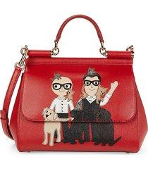 dolce & gabbana women's sicily designer patch leather satchel - red