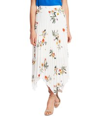 vince camuto floral-print asymmetrical-hem skirt