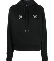 kenzo cross logo print hoodie - black