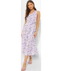bloemenprint cullotte jumpsuit met ceintuur, lilac