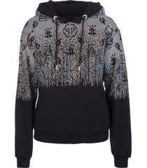 philipp plein woman black hoodie with degrade crystals