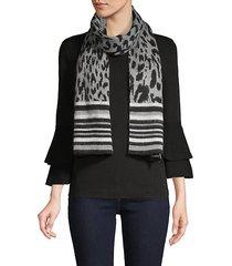 graphic leopard jacquard scarf