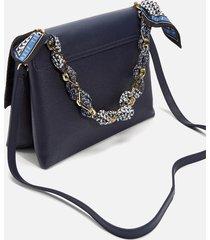 ted baker women's evangli scarf chain bar detail shoulder bag - navy