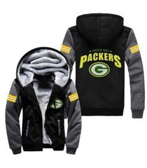 green bay packers hoodie zip up jacket coat winter warm black and gray