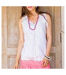 linen and cotton blend top, 'summer bliss' (india)