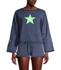 hard tail women's star-print cotton cropped top - stormy blue - size l