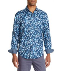 tallia men's slim fit floral print long sleeve shirt and a free face mask