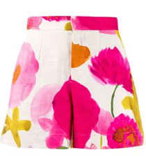 la doublej x mantero floral fitted shorts - neutrals