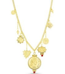 steve madden figure coin, stone and sun charms necklace in yellow goldtone alloy