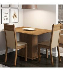 conjunto sala de jantar madesa gabi mesa tampo de madeira com 2 cadeiras marrom - marrom - dafiti