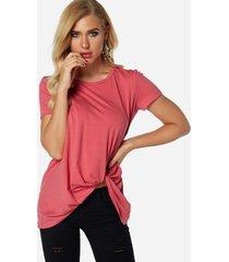 rosa plisado diseño redondo cuello camisetas de manga corta