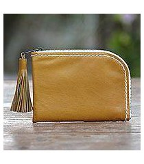 leather wallet, 'small and simple in mustard' (indonesia)