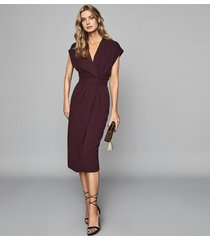 reiss maxime - wrap front slim fit dress in burgundy, womens, size 12