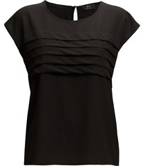julia pleat blouses short-sleeved svart modström