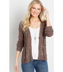 maurices womens solid lace stitch button front cardigan brown