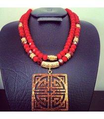 collar precolombino religioso-rojo