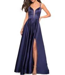 women's la femme strappy back satin ballgown, size 14 - blue
