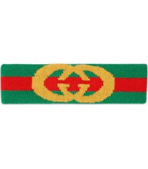 gucci green web wool headband with interlocking g