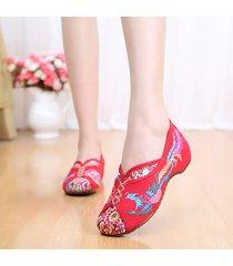 vintage scarpe basse di old peking con ricamo di fenice