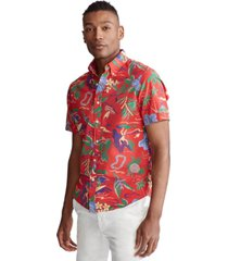 polo ralph lauren men's classic-fit hawaiian print seersucker shirt