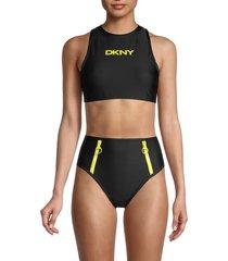 dkny women's scuba logo bikini top - black - size m
