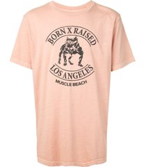 bornxraised muscle beach t-shirt - pink