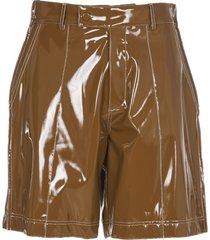 gcds brown vinyl shorts