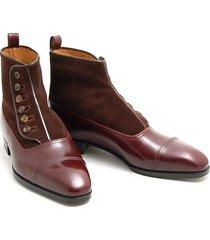 handmade men button boot, men brown ankle boot, men ankle cap toe boots