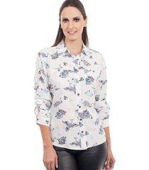 camisa love poetry floral branca - kanui