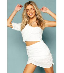 broderie anglais ruched one shoulder crop top, white