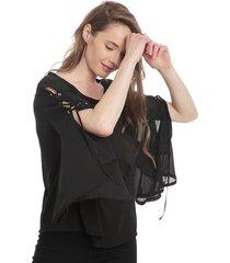 blusa 7.5 setepontocinco con vuelos negro - calce holgado