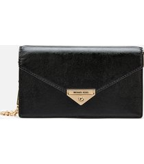 michael michael kors women's grace medium envelope clutch - black